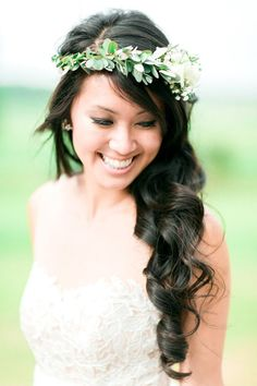 flower crown - photo by Rachel Rowland http://ruffledblog.com/chic-bohemian-wedding-at-rustic-acres-farm