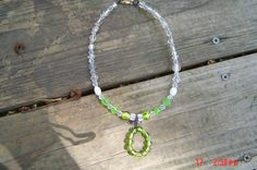 Shades of Green White and Crystal Choker by LadyBluesBaubles