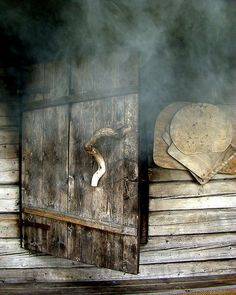 Traditional old finnish smoke sauna. And the smell.