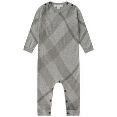 Burberry Grey Check Cotton & Cashmere Baby Romper