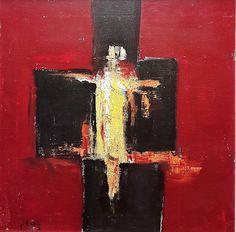 Ion Pacea (1924-1999) - Compoziție cu roșu, negru și galben / Composition in red, black and yellow