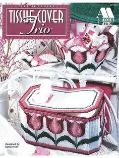 Tissue Cover Trio Plastic Canvas Leaflet Annie's Attic 1997 for sale online Plastic Canvas Books, Plastic Canvas Stitches, Plastic Canvas Tissue Boxes, Plastic Canvas Crafts, Plastic Canvas Patterns, Needlepoint Belts, Needlepoint Stockings, Needlepoint Pillows, Needlepoint Canvases