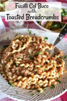 French Delicacies Essentials - Some Uncomplicated Strategies For Newbies Fusilli Col Buco With Toasted Breadcrumbs Is A Traditional Italian Dish Served For St. It Is A Simple Dish That Is A Twist On Aglio E Olio. Wheat Pasta Recipes, Yummy Pasta Recipes, Easy Dinner Recipes, Delicious Dishes, Easy Dinners, Potato Recipes, Crockpot Recipes, Soup Recipes, Breakfast Recipes