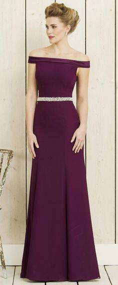 Graceful Chiffon Off-the-shoulder Neckline Full Length Sheath/Column Bridesmaid Dresses With Beadings & Belt