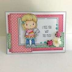 Handmade Missing You card with I miss you so much  Sentiment, this card features a marker coloured girl holding her stuffed teddy bear. She is