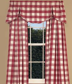 Window Toppers Buffalo Check Lined Pleated Scalloped Valance - Country Curtains® Check Curtains, Curtains With Blinds, Valance Curtains, Cafe Curtains, Kitchen Window Valances, Kitchen Curtains, Kitchen Windows, Farmhouse Window Treatments, Window Toppers