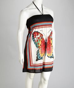 Take a look at this Black & Red Butterfly Halter Dress - Plus by Life and Style Fashions on #zulily today!