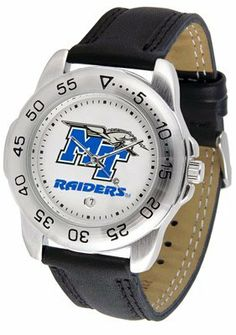 Middle Tennessee State Blue Raiders (MTSU) Suntime Mens Sports Watch w/ Leather Band SunTime. $41.95. Calendar Function With Rotating Bezel. Men. Officially Licensed Middle Tennessee State Blue Raiders Men's Workout Sports Watch. Leather Band-Scratch Resistant Crystal. Adjustable Band. Save 30%!