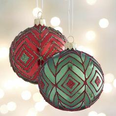 Glitter Diamond Ball Ornaments  | Crate and Barrel
