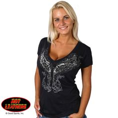 Young Guns V-Neck Ladies 100% Cotton T-Shirt Black