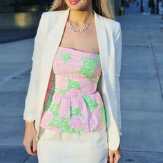floral top under white suits