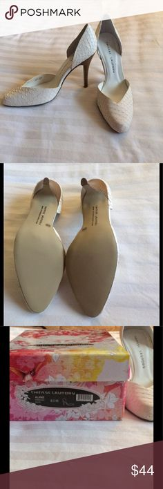 """Chinese Laundry Alanie Fish Embossed Cream Pump These sexy Chinese Laundry d'Orsay style pumps are brand new in the box, and perfect for spring and summer. The Alanie has an embossed texture on the leather upper, rounded toe and a 3.5"""" stacked heel. Chinese Laundry Shoes Heels"""