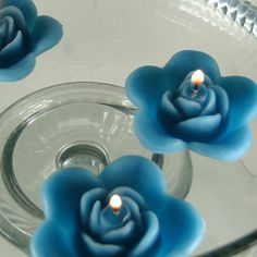 12 Teal floating rose wedding candles for table centerpiece reception decor on eBay!