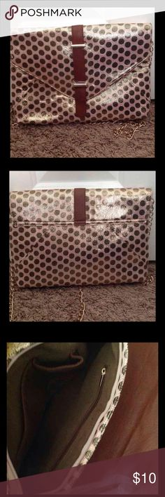 Oversized Envelope Clutch From JustFab. Never used. Chain shoulder strap is detachable. JustFab Bags Clutches & Wristlets