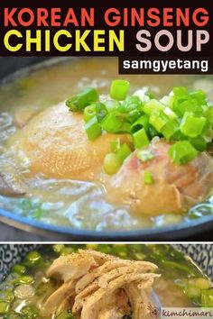 Korean Ginseng Chicken Soup (Samgyetang) is a wonderful warming and energizing soup that Koreans love to eat in the summer to beat the heat. #chickensoup #koreanfood #ginsengrecipes #asianfood #kimchimari Korean Chicken Soup, Asian Soup, Chicken Soup Recipes, Meat Recipes, Slow Cooker Recipes, Asian Recipes, Cooking Recipes, Ginseng Chicken Soup, Korean Ginseng