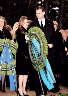 misshonoriaglossop:  50th Anniversary Commemoration of King Paul's Death, March 6, 2014-Infanta Elena, Crown Princess Letizia, Crown Prince Felipe, Queen Anne-Marie