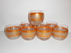 Culver Barware Glasses Roly Poly Greek Key Mid Century Tangerine Gold Cocktail 8