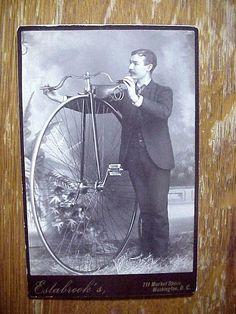 CABINET CARD PHOTO of Wheelman - BONE CRUSHER  High Wheel BICYCLE Washington DC