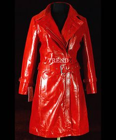 Red Ladies Women's Long Trench Coat - Real Cow Hide Leather Jacket