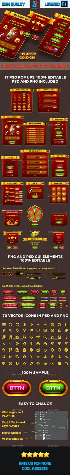 Classic Game Gold GUI by Master_Key | GraphicRiver Daily Rewards, Game Gui, Master Key, Coin Shop, Match 3, Retina Display, Level Up, Arcade, Video Game