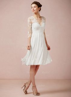 Wedding Dresses - $118.13 - A-Line/Princess V-neck Knee-Length Chiffon Lace Wedding Dress With Ruffle (00205003144)