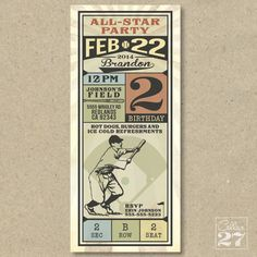 All Star Vintage Baseball Birthday Invite on Etsy, $20.00