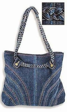 Great take on the old jeans bag Jeans Recycling, Recycle Jeans, Sacs Tote Bags, Denim Purse, Clutch Purse, Denim Ideas, Denim Crafts, Handmade Purses, Old Jeans