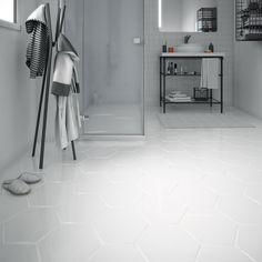 Carrelage sol et mur blanc effet béton Hexo l.25.8 x L.29 cm