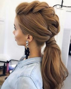 Amazing Wedding Hairstyles For Long Hair By Ulyana Aster ★ wedding hairstyle from ulyana aster volume ponytail textured on medium red hair Braided Ponytail, Ponytail Hairstyles, Trendy Hairstyles, Hairstyle Ideas, Hairstyles 2016, Mowhawk Braid, Low Ponytails, Mohawk Ponytail, Hairstyle Tutorials