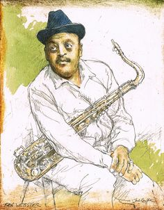 """Original watercolor of """"Ben Webster"""" by Jack Coughlin available at the R. Michelson Galleries"""