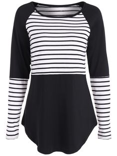 Raglan Sleeve Stripe Panel T Shirt in Black | Sammydress.com