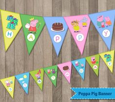 Printable Peppa Pig Birthday Banner  // WHAT'S INCLUDED // One PDF file with 13 flags spelling Happy Birthday When cut each flag is approx 6x8  //HOW