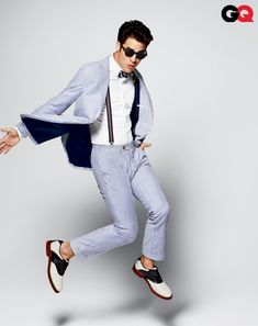 Suit, $548 by Tommy Hilfiger. Shirt, $40 by Lands' End Canvas. Bow tie, $30 by Gilbert & Lewis. Suspenders, $22 by Topman. Sunglasses, $255 by Moscot. Shoes, $89 by G.H. Bass & Co.