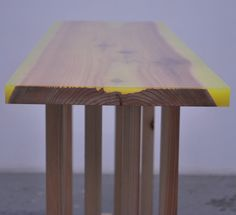 slab wood table filled with colored epoxy - diy end table idea? @Mike Hickey