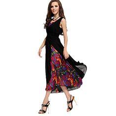 Women's V Neck Print Chiffon Midi Bohemia Slim Dress - USD $ 32.08