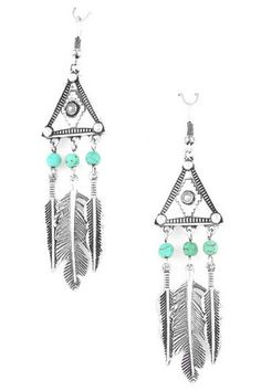 "$16 - Handmade dangle earrings with semi precious stones and feather details. Drop earring: 3 3/8"". Fish hook ear wire."