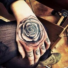 #Rose #Tattoo on Hand for Men and Women.