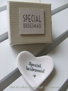 East of India Special Bridesmaid White Porcelain Heart Dish - Wedding Gift East India http://www.amazon.co.uk/dp/B004JPNHLG/ref=cm_sw_r_pi_dp_s1UYwb1DTD06H