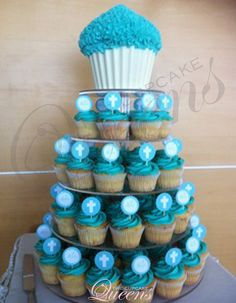 Bright blue christening cupcakes