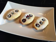 lemon and blueberry madeleines, perfect for morning tea. Vegetarian Recipes Easy, My Recipes, Doughnut, Blueberry, Muffin, Lemon, Tea, Cooking, Breakfast