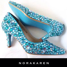 Wedding shoes Turquoise blue soles  sparkle by norakaren on Etsy