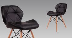 Black PU Leather  seat  Beech Wood legs  Chair for Cafe and Coffee Shop