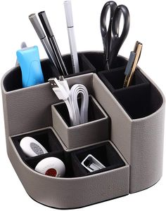Pen Holders Hospitable Stick On Desktop Stationery Desk Organizer Brush Pot Plastic Pen Holder Pencil Box Office Makeup Storage Complete Range Of Articles Office & School Supplies