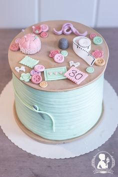 birthday cake - yarn roll, sewing cake