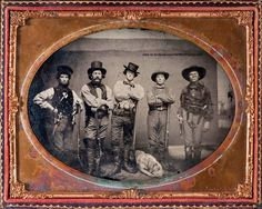 Five extremely well armed men (and a sleepy dog) are featured in this late 1850s ambrotype. Courtesy Heritage Auctions