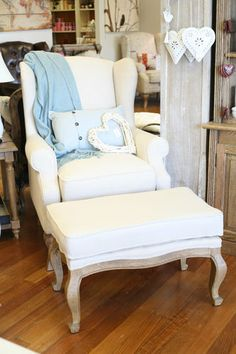 French Provincial Linen Wing Back ARM Chair With Ottoman | eBay