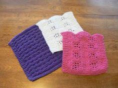 Purple Raspberry and White Hand #Knit Mini #Washcloths or #Dishcloths Set of three @hollyknittercreations