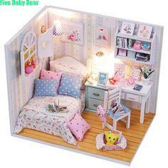 Cabine de Belas Casas de Bonecas Casa De Bonecas Em Miniatura Casa de boneca Diy Casa de Boneca De Madeira Brinquedos Infantis