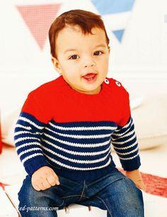Sweater knitting pattern (love stripes on little boys)