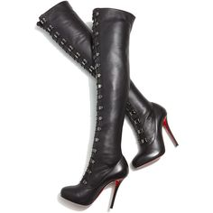 Christian Louboutin Top Croche Over-the-Knee Red Sole Boot ($2,595) ❤ liked on Polyvore featuring shoes, boots, red boots, over the knee boots, genuine leather boots, above-knee boots and red over the knee boots